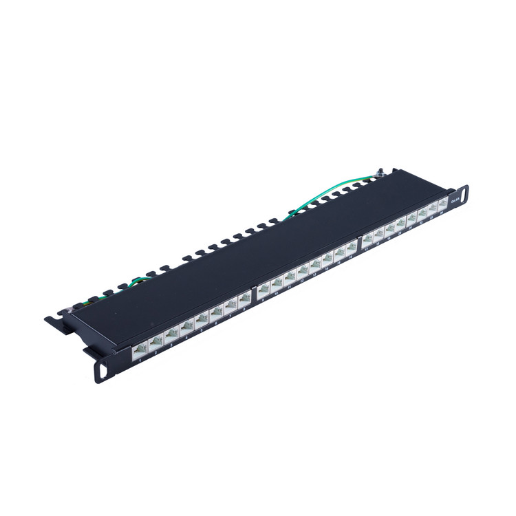 Slim Patchpanel Cat.6A, 24 Port 0,5HE, 19