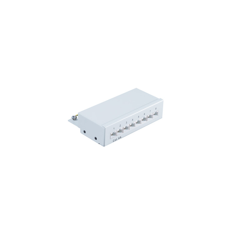 Patchpanel Patchfeld Cat.6A, 8-Port lichtgrau