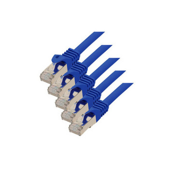 RJ45 Patchkabel m. CAT 7 Rohkabel  PIMF blau 0,25m