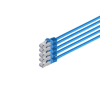 RJ45 Patchkabel m. CAT 7 Rohkabel  PIMF blau 2m