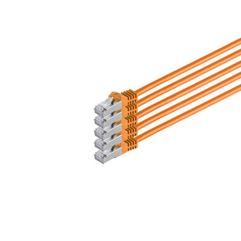 RJ45 Patchkabel m. CAT 7 Rohkabel  PIMF or. 0,5m