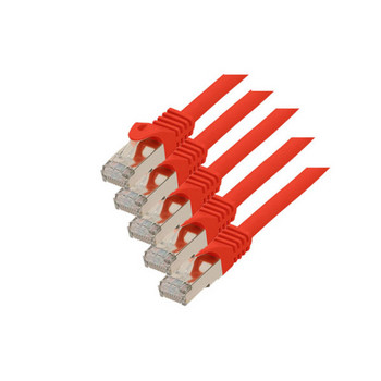 RJ45 Patchkabel m. CAT 7 Rohkabel  PIMF rot 0,25m