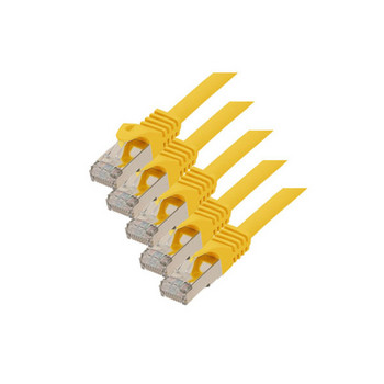 RJ45 Patchkabel m. CAT 7 Rohkabel  PIMF gelb 0,25m