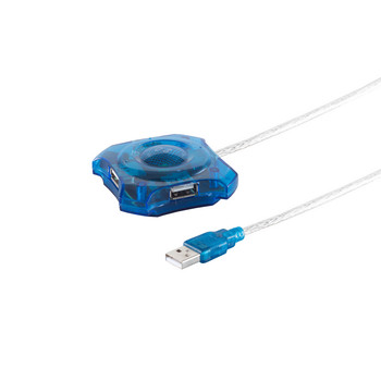 USB 2.0 HUB-4 Fach--blau transparent