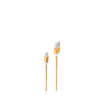 USB-Ladekabel A Stecker - 8-pin Stecker gold 0,3m