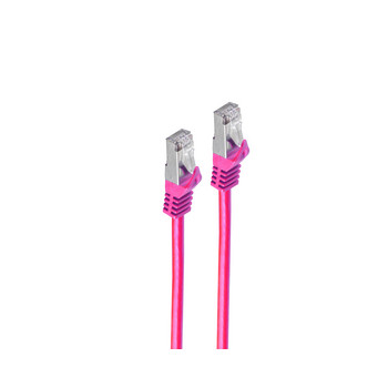 RJ45 Patchkabel m. CAT 7 Rohkabel PIMF magenta 15m