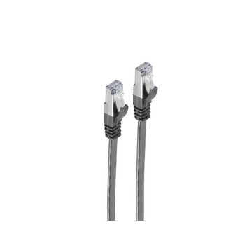 RJ45 Flachkabel m. CAT 7 Rohkabel slim sw 0,25m