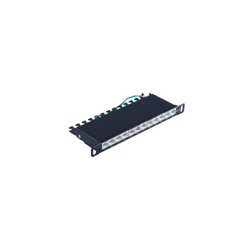 Slim Patchpanel Cat.6A, 12 Port 0,5HE, 10